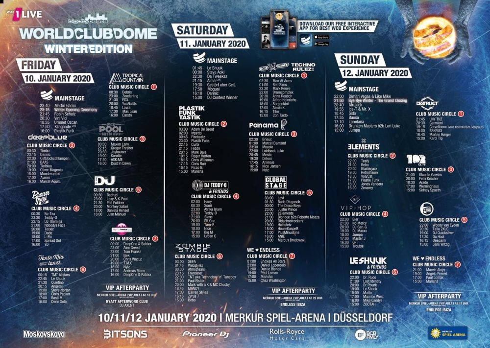 BigCityBeats WORLD CLUB DOME Winter Edition 2020 - Timetable