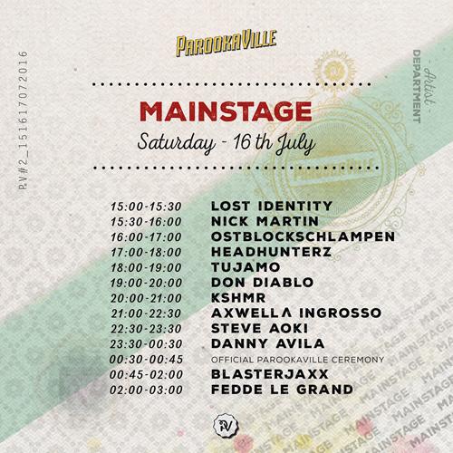 Parookaville Timetable Mainstage Samstag